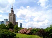 Mitt av Warszawa - slott av kultur och vetenskap Royaltyfri Bild