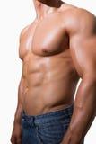 Mitt- avsnitt av en shirtless muskulös man arkivfoton