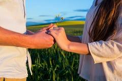 Mitt- avsnitt av parinnehavhänder i fält Royaltyfri Bild