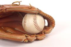 Mitt and Ball. Softball Mitt and softball photographed on white background Stock Photography