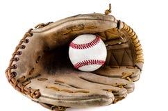 Mitt en de bal van het honkbalspel Stock Foto's