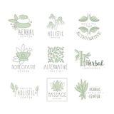Mitt för alternativ medicin med orientalisk växt- behandling och den holistiska massagetillvägagångssättsamlingen av etikettmalla Arkivbild