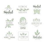 Mitt för alternativ medicin med orientalisk växt- behandling och den holistiska massagetillvägagångssättuppsättningen AV etikettm Royaltyfria Bilder