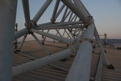 Mitt för Faliro olympisk strandvolleyboll - komplex för OS Faliro för kust- zon 14 år efter sommarolympiska spel av Aten 2004 arkivbilder