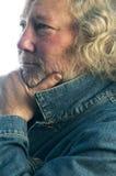 mitt för man för omslag för ålderdenim stilig arkivfoton