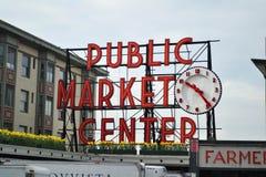 Mitt för offentlig marknad, Seattle, Washington Arkivfoto