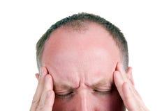 mitt- lida för åldrig huvudvärkman Arkivfoton