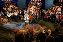 Mitt at the podium, Romney Rally Stock Photos