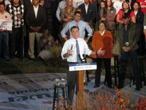 Mitt at the podium, Romney Rally Stock Photo