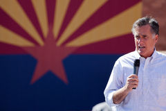 Mitt Romney Campaigns In Arizona Before Hispanics. Editorial: Republican presidential candidate and former Massachusetts Gov. Mitt Romney speaks during a Royalty Free Stock Images