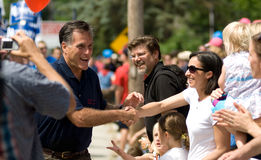 Mitt Romney Meets Voters During Amherst, NH, July 4th Parade Royalty Free Stock Image