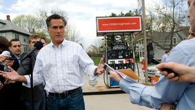 Mitt Romney Talks Gas Prices. Republican presidential candidate Mitt Romney discusses high gas prices at a Manchester, NH, gas station in April of 2011 Royalty Free Stock Photography