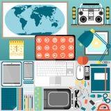 Mitt skrivbord, affär, kontor Arkivfoton