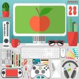 Mitt skrivbord, affär, kontor Arkivbilder