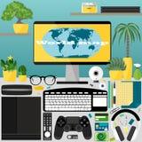 Mitt skrivbord, affär, kontor Arkivfoto
