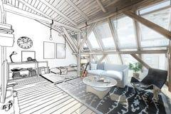 Mitt ställe under linjen teckning för tak 02 royaltyfri illustrationer