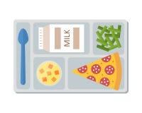 Mittagessen auf einem Behälter in der Linie Art stock abbildung