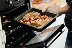 Mittagessen, das im Ofen getan wird lizenzfreie stockbilder
