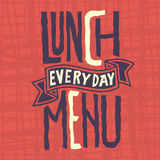 Mittagessen-Menü jeden Tagesnervöse Aufkleber-Design Artistc-Gewohnheits-Typografie lizenzfreie abbildung