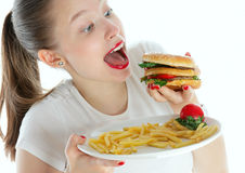 Mittagessen mit einem Sandwich Stockbild