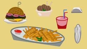 Mittagessengetränkburger-Eiscreme-Serviettenpommes-fritesgeschirr vektor abbildung