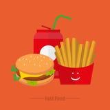 Mittagessenpommes-friteswasser auf einem orange Hintergrund Stockfotos