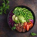 Mittagessenschüssel des strengen Vegetariers Avocado, roter Reis, Tomate, Gurke, rotes cabba Stockbilder