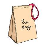 Mittagessentasche Gewebe-eco Tasche mit rosarotem Seil Baumwolllebensmittel-Taschenkonzept Skizzenzeichnung Vektorhand gezeichnet lizenzfreie abbildung