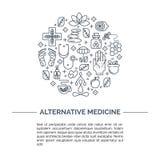 Mittbegrepp för alternativ medicin royaltyfri illustrationer