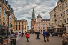 Mitte der Stadt Aarhus mit mittelalterlicher Kathedrale, Dänemark Stockfoto