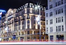 Mitte der Warschau-Nachtstadt Eine Abbildung auf einem Thema der Architektur hotel Stockfoto