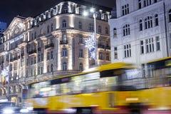 Mitte der Warschau-Nachtstadt Eine Abbildung auf einem Thema der Architektur hotel Stockbilder