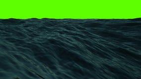 Mitte des Meeres mit Wellen und des Winds auf einem grünen Schirm stock video footage