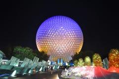 Mitte Disney-Epcot nachts, Florida, USA Lizenzfreie Stockbilder
