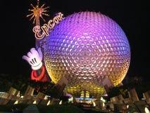 Mitte Disneys Epcot nachts lizenzfreies stockbild
