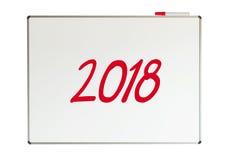 2018, Mitteilung auf whiteboard Stockbilder