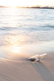 Mitteilung in der Flasche auf Strand mit Sonnenuntergang- und Unschärfeindustrie backgro Stockbilder