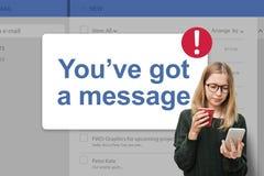 Mitteilung Inbox-Mitteilungs-Ikonen-Konzept Stockfoto