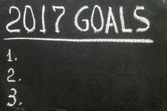 Mitteilung mit 2017 Zielen geschrieben auf Tafel Stockbild