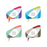 Mitteilung - Vektorlogoschablonen-Konzeptillustration Die kreative Spracheblase unterzeichnen herein die vier Farbveränderung Int lizenzfreie abbildung