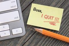 Mitteilung zum Chef über Rücktritt Stockfoto