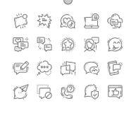 Mitteilungen Gut-machten Pixel-perfekter Vektor-dünne Linie Gitter 2x der Ikonen-30 für Netz Grafiken und Apps in Handarbeit Stockbild