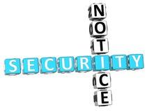 Mitteilungs-Kreuzworträtsel der Sicherheits-3D Lizenzfreies Stockfoto