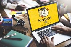Mitteilungs-Zeitplan merkt wichtiges Aufgaben-Konzept Lizenzfreie Stockfotos