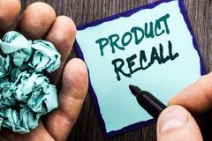 Mitteilungstext, der Rückruf eines fehlerhaften Produktes zeigt Geschäftskonzept für Rückruf-Rückerstattungs-Rückkehr für die Pro lizenzfreie stockfotografie
