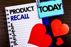Mitteilungstext, der Rückruf eines fehlerhaften Produktes zeigt Konzeptbedeutung Rückruf-Rückerstattungs-Rückkehr für die Produkt stockbild