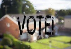 Mitteilungstexttitel, der Abstimmung zeigt Geschäftskonzept für die Abstimmungsstimme für die präsidentschaftswahl geschrieben au Stockfotografie