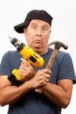 Mittelalter-Mann mit Hilfsmitteln Stockfoto