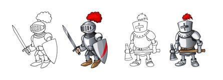 Mittelalterliche überzeugte bewaffnete Ritter der Karikatur, lokalisiert auf weißen Hintergrundfarbtöenen stockfoto