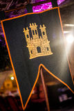Mittelalterliche Art-Schloss-Fahne Stockfoto